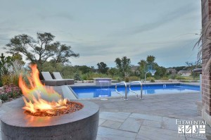 Pool with Cast Concrete Fire Table